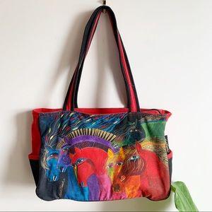 Laurel Burch Horse Print Canvas Tote Bag Purse